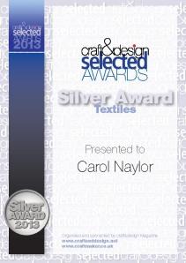 Certificate Silver textiles_CarolNaylor copy