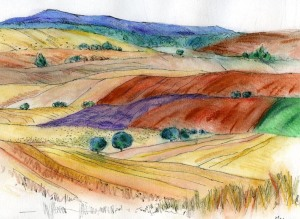 Landscape with lavender, drawing